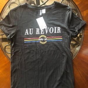 NWT H & M Xtra Small Au Revoir Black T Shirt